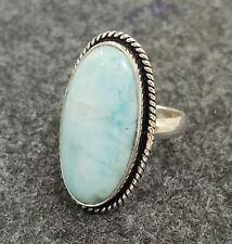 Larimar Gemstone Ring 925 Sterling Silver Ring Handmade Ring Size 6 mo61