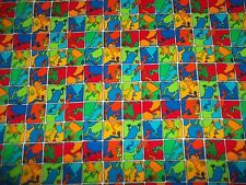 Handmade cotton crib sheet Frogs,squares /Primary Brights/ Neutral