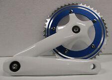 Guarnitura corona Bicicletta Blu singola 46 denti pedivella bici Bike 170 mm