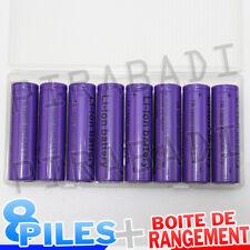 8 PILES ACCUS RECHARGEABLE 18650 3.7V 4900mAh Li-ion + BOITE DE RANGEMENT OFFERT