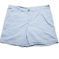 Columbia Mens Shorts Blue White Geometric Dot Flat Front Pockets 100% Cotton 42