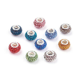 50 Random Resin Paved Rhinestone European Beads Large Hole Shamballa Charms 12mm