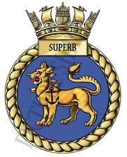2 X HMS SUPERB BADGE/CREST ON A TEA/COFFEE COASTER. 9cm X 9cm. ROYAL NAVY