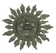 Cast Iron Smiling Sun Face Plaque Wall Hanging Patio Garden Home Decor