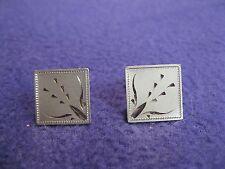 Vintage Silver Plated Square Diamond Etch Fountain Cufflinks Anson          DJ14