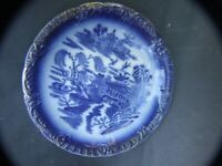 Antique  Empire Stoke On Trent Blue and White Cabinet Plate C.1900'S