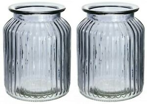 Set of 2 Charcoal Glass Flower Vase Wide Mouth Flower Vase Rippled Design