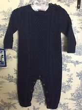 Baby Gap 12-18 Months Navy Blue Aran Sweater One Piece Outfit Romper Cable Knit