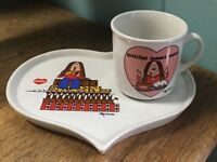 Comic Strip CATHY dish set heart shaped lunch dessert plate with mug Valentine