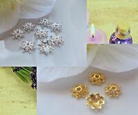 100 Perlenkappen 10 mm Perlkappen Endkappen Spacer  Gold Silber Mix Metall DIY