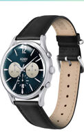 HENRY LONDON MENS CHRONOGRAPH WATCH BLUE FACE BLACK LEATHER STRAP MULTI DIAL NEW