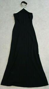 Lillie Rubin Nicole Bakti Black Cocktail Dress Gown Sz M Rhinestones Crystals