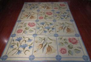 5.5' X 8' Needlepoint Elegant Rose Tulip Lily Blue Beige Beautiful  Carpet #63