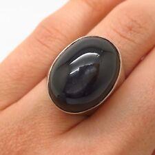 925 Sterling Silver Nepal Jane Diaz Silver Sheen Obsidian Gem Ring Size 5 3/4