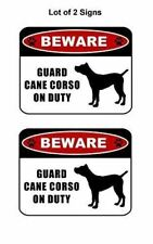 "2 count ""Beware Guard Cane Corso (silhouette) on Duty"" Laminated Dog Sign"