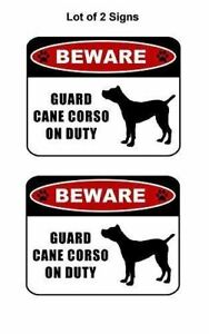 """2 count """"Beware Guard Cane Corso (silhouette) on Duty"""" Laminated Dog Sign"""