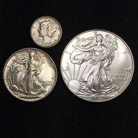 Mercury Dime / Walking Liberty / Silver Eagle (3 Coin Set)