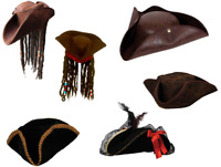 Adults Pirate Hat Mens Ladies Pirates Fancy Dress Accessory Buccaneer Caribbean