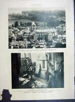 Original Old Vintage Print Junk Boat Low-Tide Church Vierge French 1933 20th