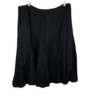 Lauren Ralph Lauren SKIRT Black Linen A Line Lined Flare 18W Plus Side Zip Midi
