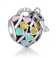 Sterling S925 Silver Bracelet Rainbow Hearts LOVE YOU LOCK Charm + Free pouch