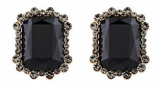 Clip On Earrings - gold luxury earring with crystals & a black stone - Bea