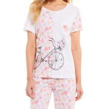NWT Sleep Sense Bicycle & Hearts PJ's Pajamas Set Cropped Pants S/S Top XS/S