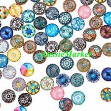 20 x cabochons glass dome mosaic printed flat back round 12mm jewellery jewelry