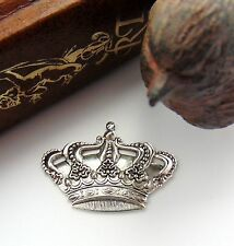 ANTIQUE SILVER (2 Pieces) Crown Stamping ~ Jewelry Oxidized Finding (FA-6085)