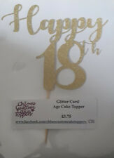 Glitter Card ANY AGE Cake Topper Birthday 13th/18th/21st/30th/40th/50th/60th