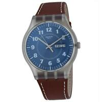 Swatch SUOK709 Vent Brulant 41MM Men's Brown Leather Watch
