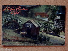 R&L Postcard: Happy Christmas, Dog Puppy at Kennel, Countryside Scene