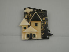 Vintage House Pins By Lucinda Hand Made Cloud Rain Black Brooch Night