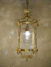 HANGING LANTERN SHINY GOLD BRONZE CHANDELIER LAMP FOYER BRASS USED LUSTRE OLD