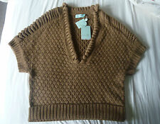 Almost Famous Architectural Knitted Jumper Top Short Sleeve XL Khaki