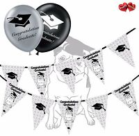 Bundle of Pug in Hat Bunting Banner 15 flags and 20 Graduation latex balloons