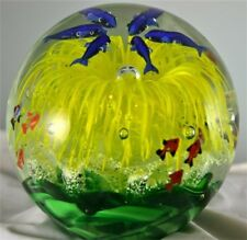 Yellow Glass Flower Paperweight/Glow In The Dark/Handcrafted/Home Decor
