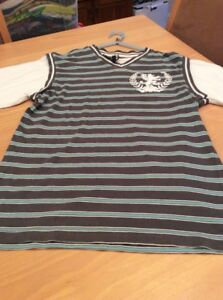 boys clothes 11-12 years Flipback Charcoal Blue Striped Cotton White Sleeved Top