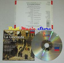 CD PONCHIELLI La gioconda atto II CERQUETTI SIMIONATO DEL MONACO SIEPI lp mc dvd