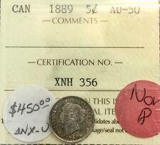 Canada 1889   5 Cents Silver  Graded ICCS AU 50 Semi Key Date Scarce