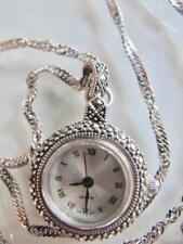 Swiss Made Quartz Pendant Watch Stainless & Marcasites Sterling Silver Chain