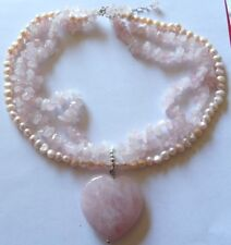 Huge rose quartz and natural pink pearls heart shaped necklace MB23