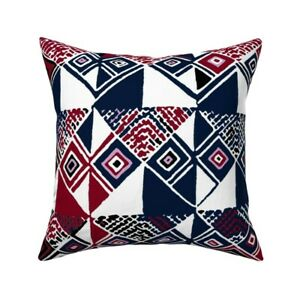 Contemporary Kuba Cloth Throw Pillow Cover w Optional Insert by Roostery