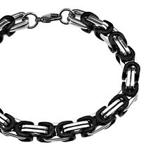 Width 8mm Silver and Black 316l Chunky Link Chain Stainless Steel Necklace Men