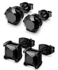 Besteel 2 Pairs Stainless Steel Mens Womens CZ Stud Earrings Pierced Earrings BK