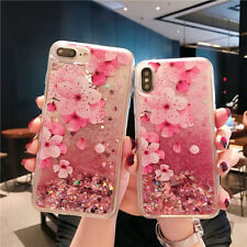 Bling Dynamic Liquid Glitter Quicksand Case Cover Flower Peach Blossom Gift