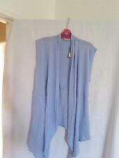 Sussan Ladies Blue Combo Linen/cotton Vest XS 55 Linen 45 Cotton