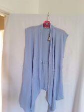 Sussan ladies blue combo linen/cotton vest XS BNWT 55%linen 45% cotton