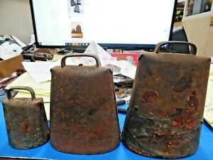 Lot of 3 Antique Vintage Metal Cow Bells Rustic Farm Animal Bells Rusty w/ Clang