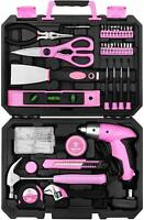 98 PCS Tool Set General Household Hand Tool Kit Pink with Plastic Toolbox